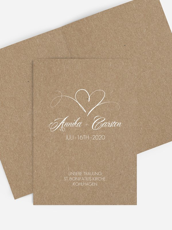 Kirchenheft Hochzeit Herzschlag Kraftpapier
