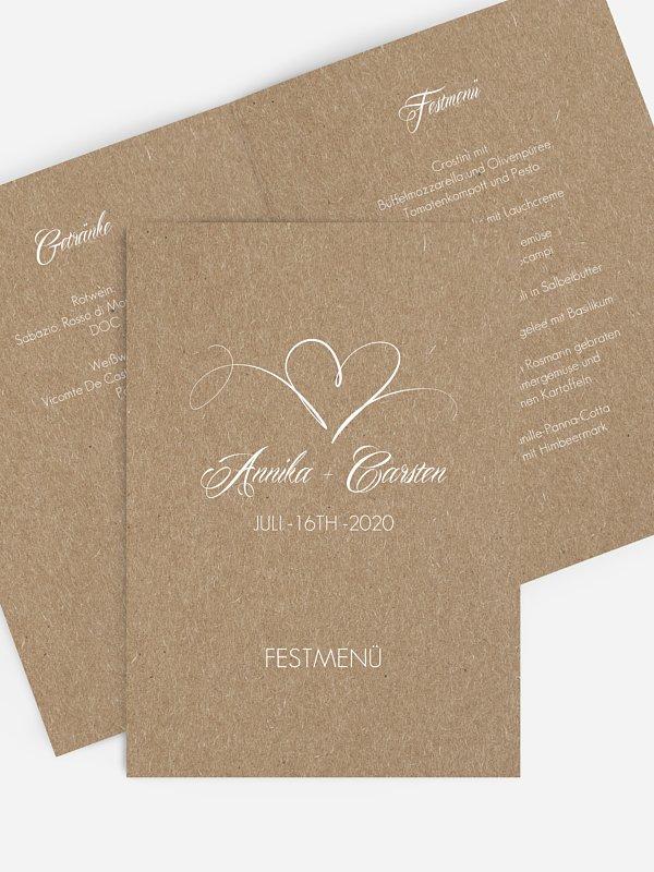 Menükarte Hochzeit Herzschlag Kraftpapier