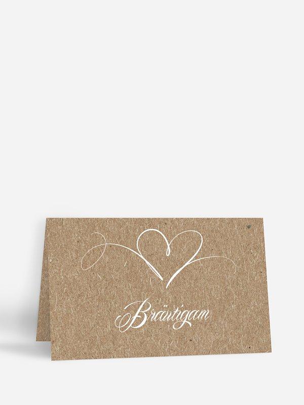 Tischkarte Hochzeit Herzschlag Kraftpapier