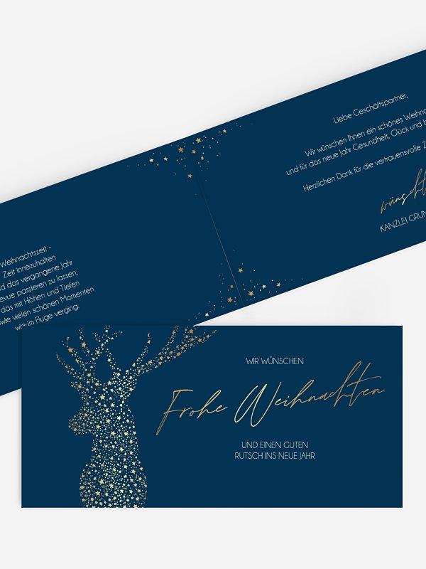 Geschäftliche Weihnachtskarte Golden Deer