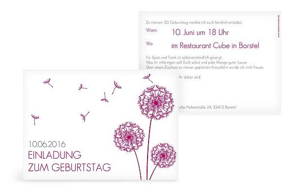 Großartig Einladung 30. Geburtstag Pusteblume