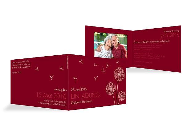 Einladung zur Goldenen Hochzeit Pusteblume