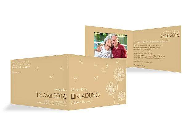 Einladung Goldene Hochzeit Pusteblume