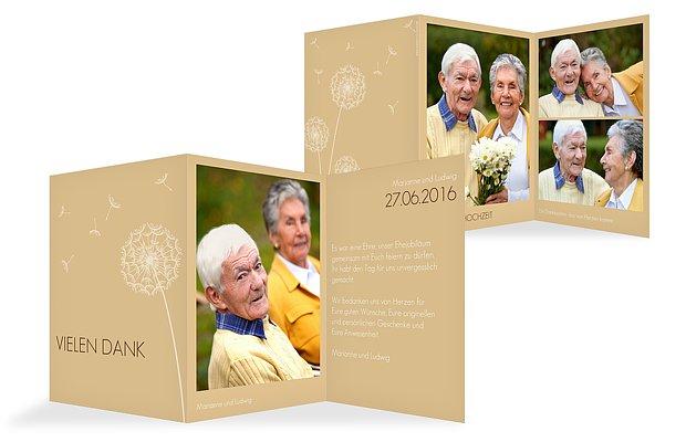 "Dankeskarte Goldene Hochzeit ""Pusteblume"""