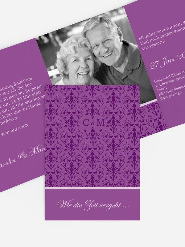 Einladung zur Goldenen Hochzeit Vintage