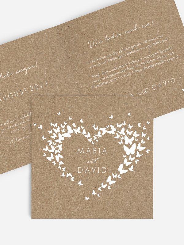 Hochzeitseinladung Herzflattern Kraftpapier