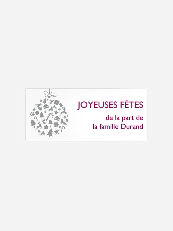Étiquette cadeau Noël Boule festive