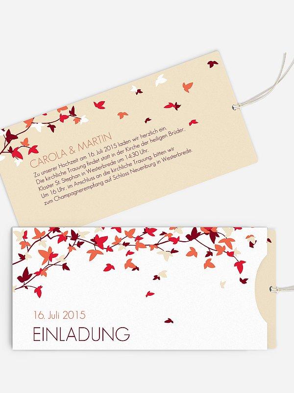 Hochzeitseinladung Blättertanz