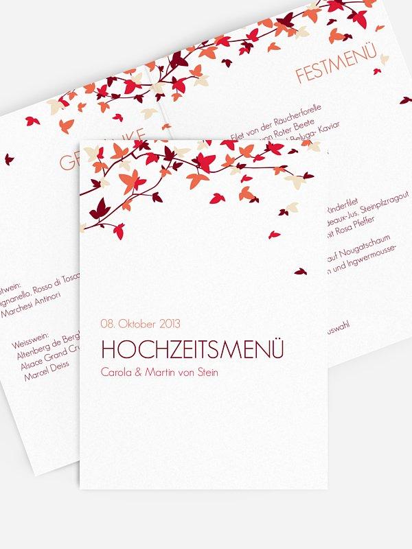 Menükarte Hochzeit Blättertanz