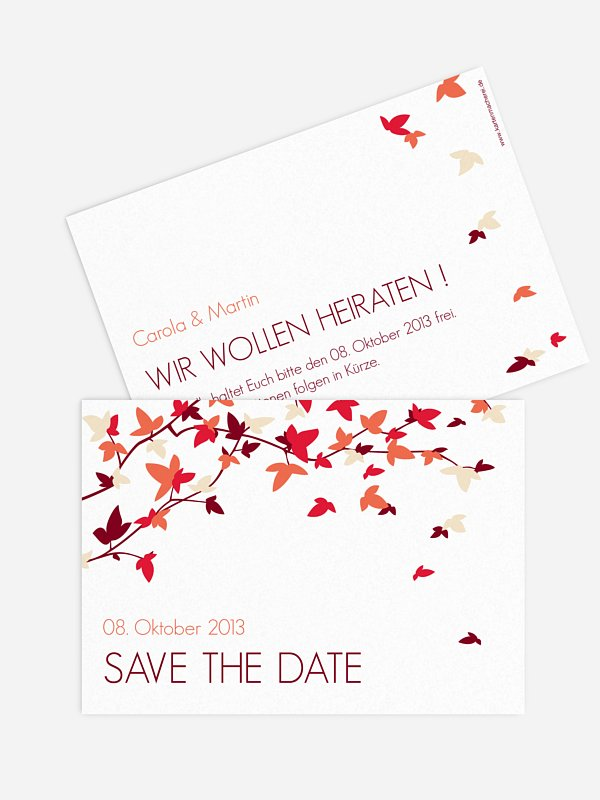 Save-the-Date Karte Blättertanz