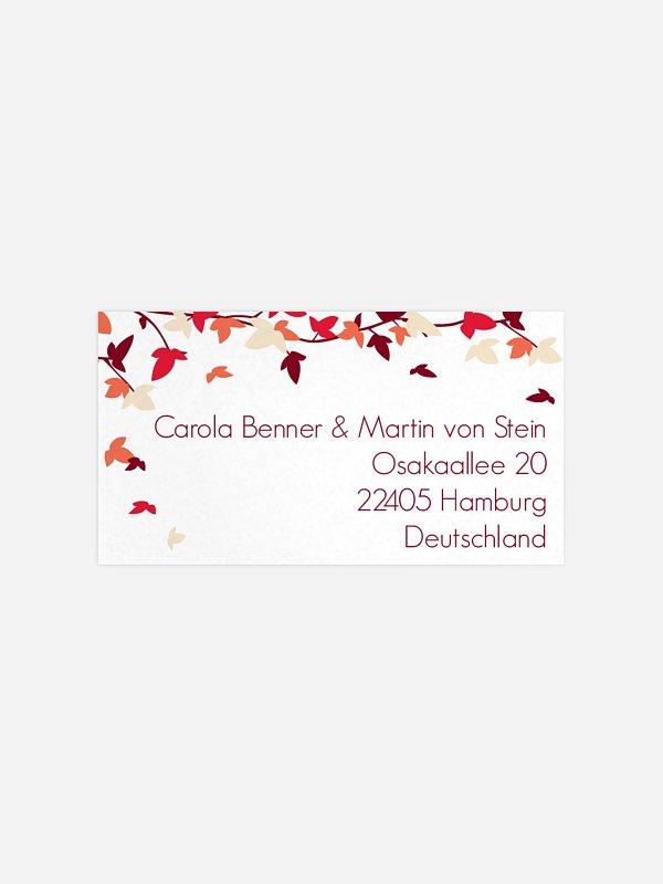 Empfängeraufkleber Hochzeit Blättertanz
