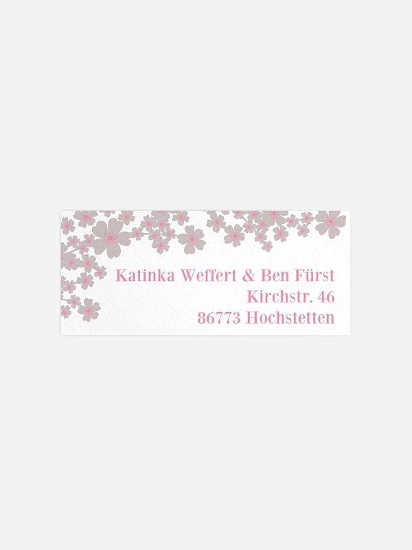 Absenderaufkleber Hochzeit Kirschblüten