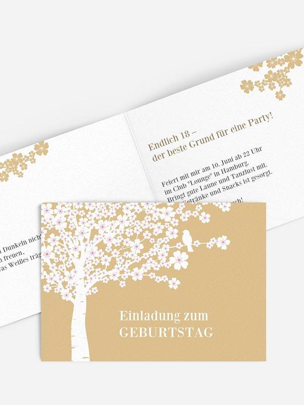 Einladung 18. Geburtstag Kirschblüten