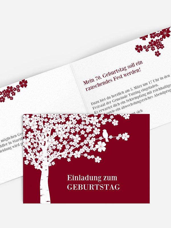 Einladung 70. Geburtstag Kirschblüten