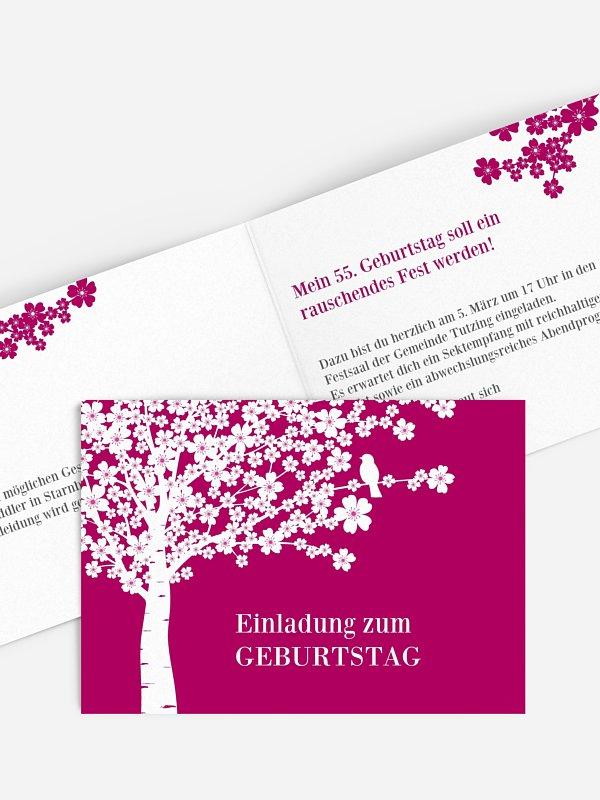 Einladung 80. Geburtstag Kirschblüten