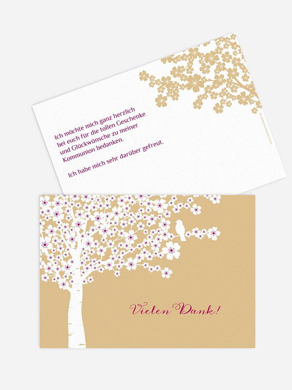 Danksagung Kommunion Kirschblüten