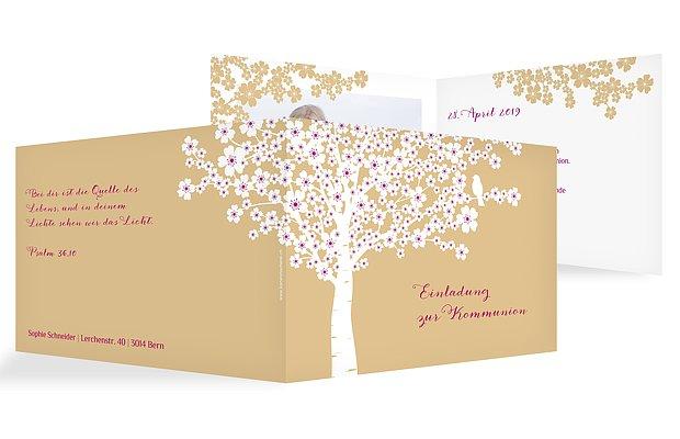 Kommunionseinladung Kirschblüten
