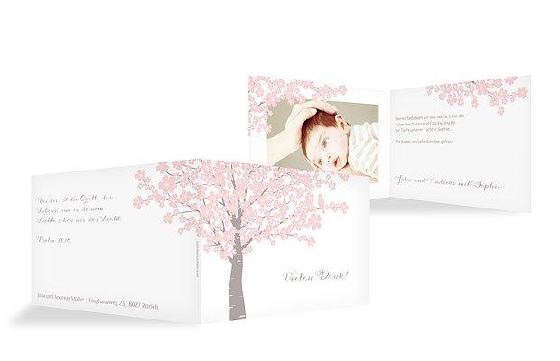 Dankeskarte Taufe Kirschblüten