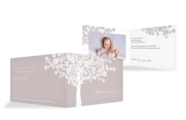 Carte remerciement baptême fleurs de cerisier