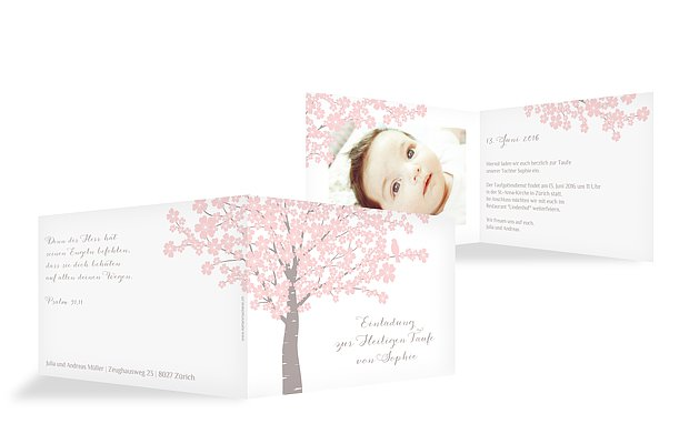 Taufeinladung Kirschblüten