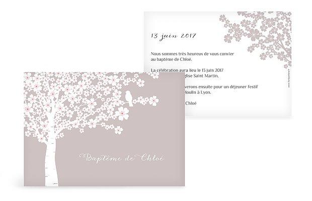 Faire-part baptême Fleurs de cerisier