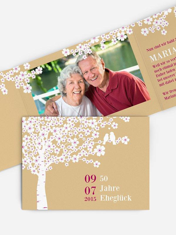 Einladung zur Goldenen Hochzeit Kirschblüten
