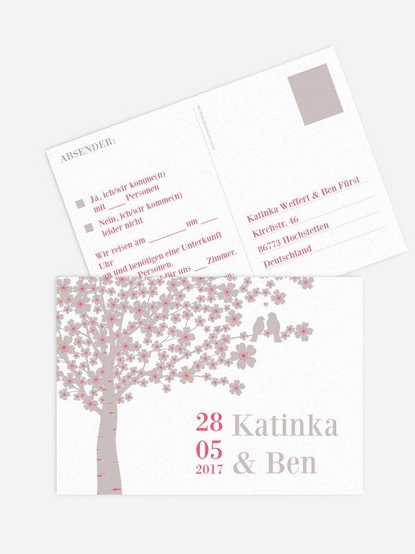 Antwortkarte Hochzeit Kirschblüten