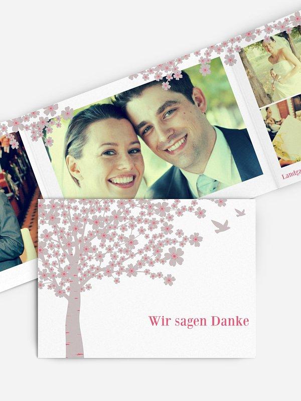 Dankeskarte Hochzeit Kirschblüten