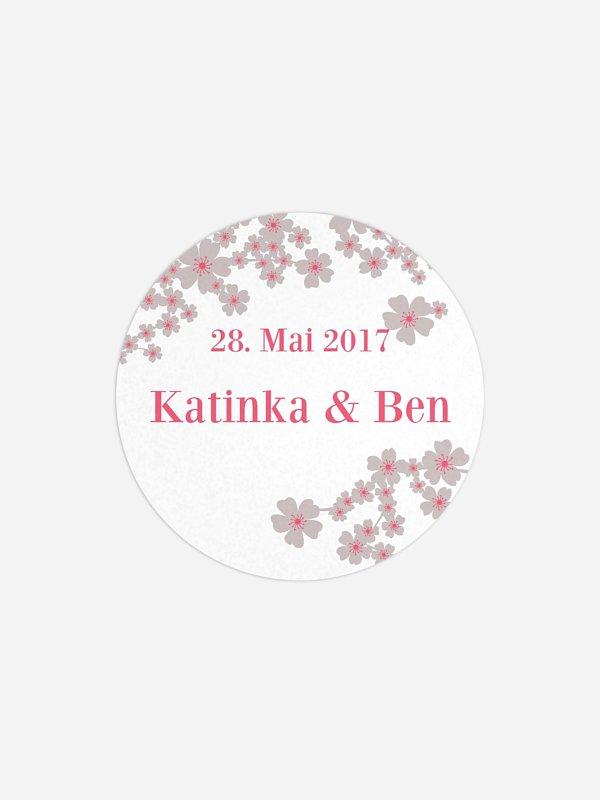 Geschenkaufkleber Hochzeit Kirschblüten