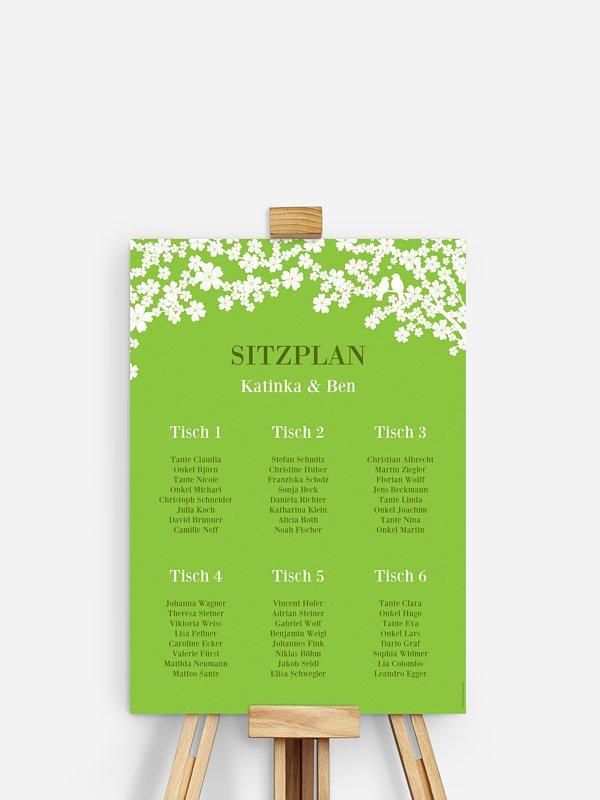 Sitzplan Plakat Kirschblüten