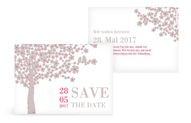 Save-the-Date Karte Kirschblüten