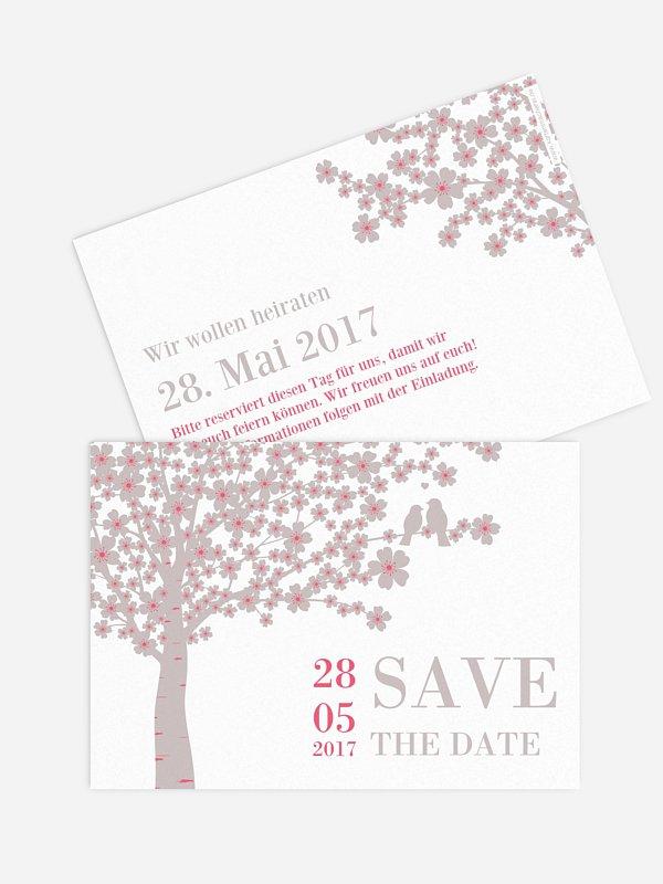Save-the-Date Karte Kirschblüten