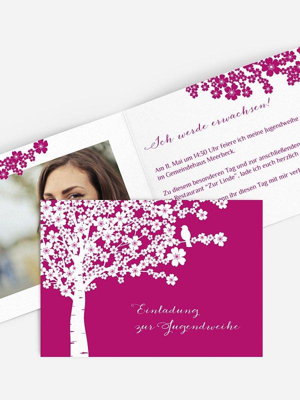 Einladung Jugendweihe Kirschblüten