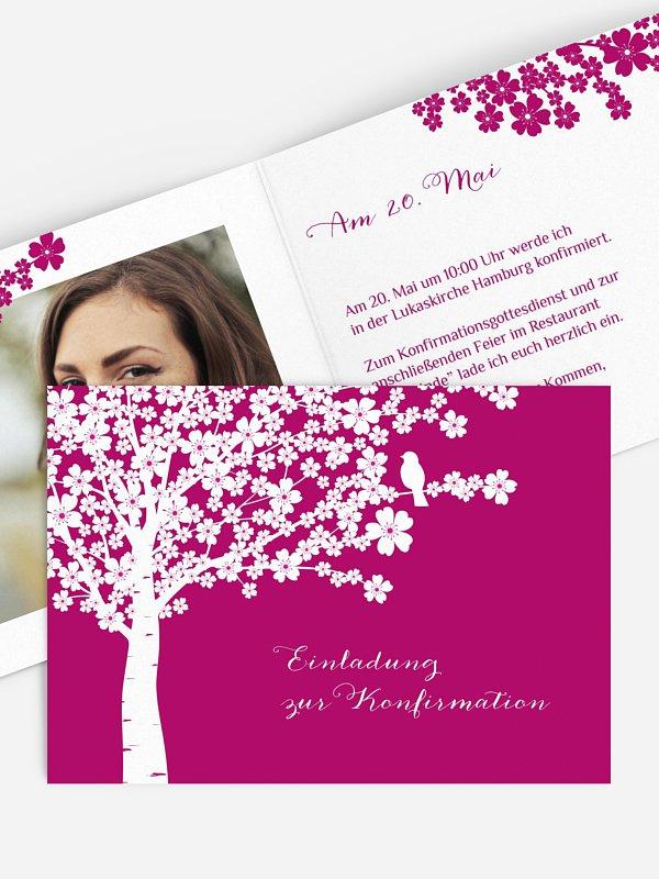 Konfirmationseinladung Kirschblüten
