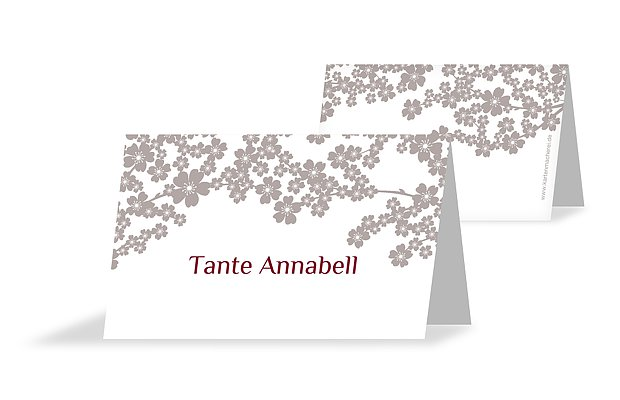 Tischkarte Konfirmation Kirschblüten