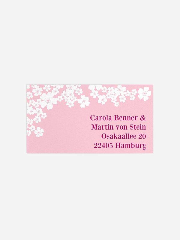 Empfängeraufkleber Hochzeit Kirschblüten