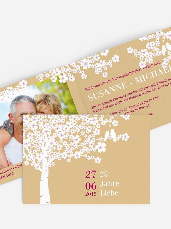 Einladung zur Silberhochzeit Kirschblüten