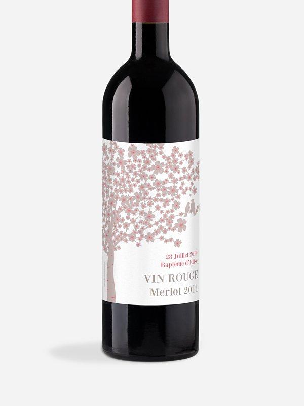 Étiquette pour bouteille Fleurs de cerisier