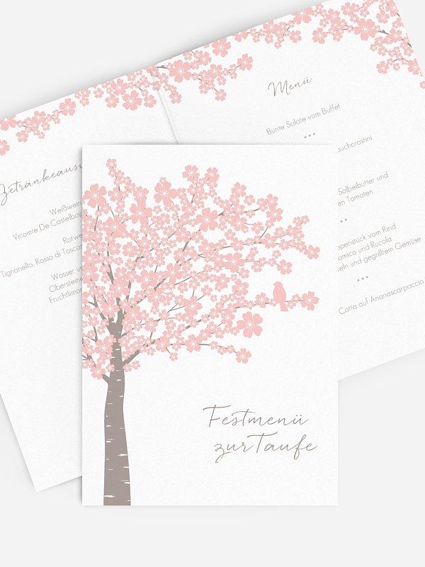 Menükarte Taufe Kirschblüten