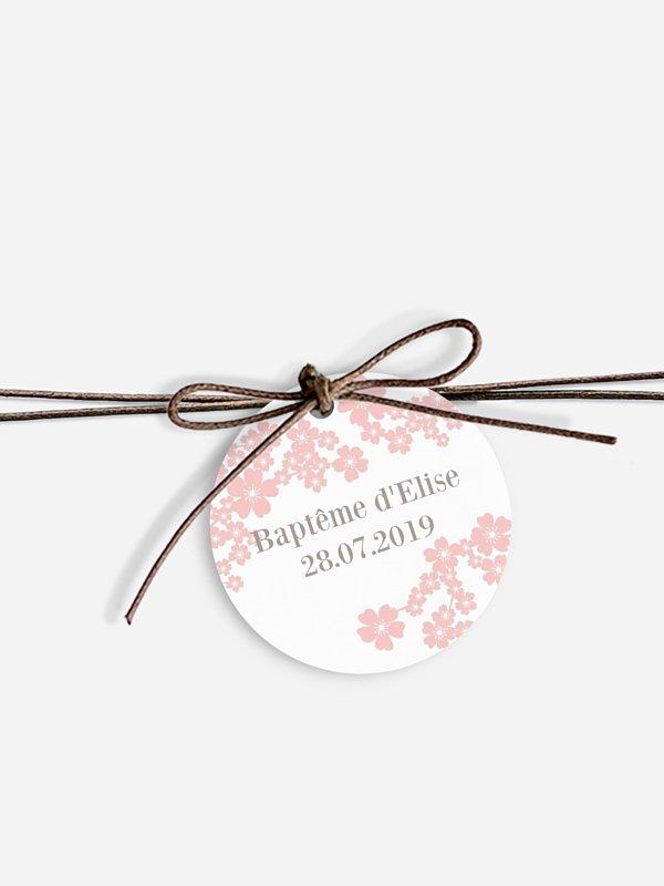 Étiquette avec ruban baptême Fleurs de cerisier