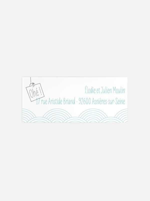 Étiquette expéditeur baptême Sur les flots