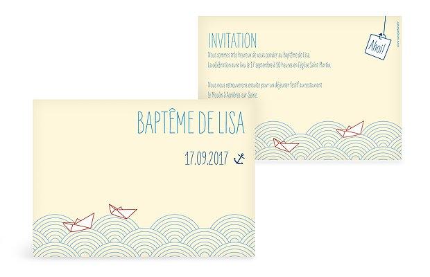 Faire-part baptême Sur les flots