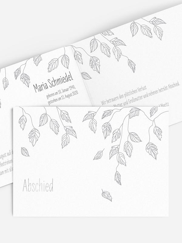 Trauerkarte Blätterregen