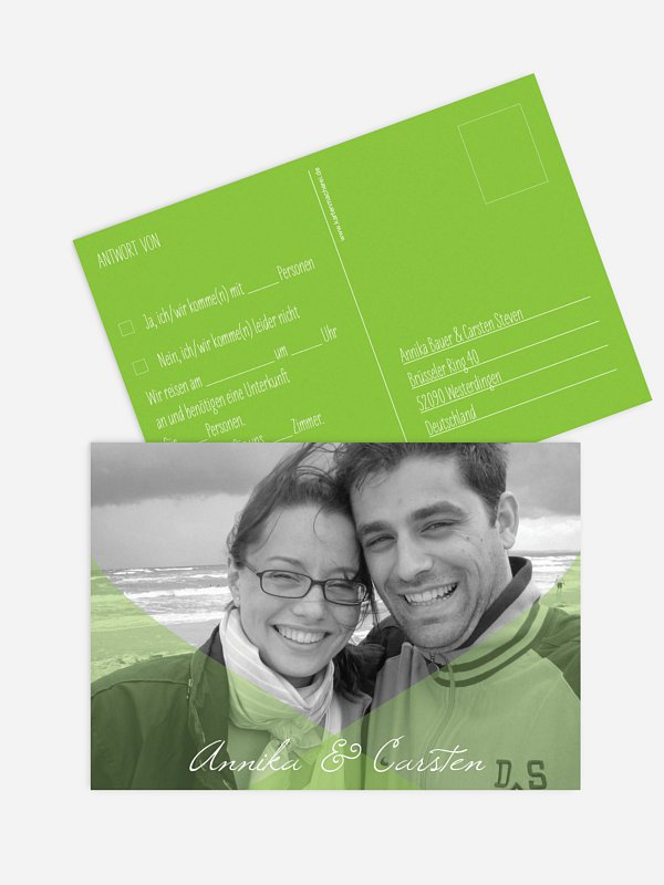 Antwortkarte Hochzeit Seidenband