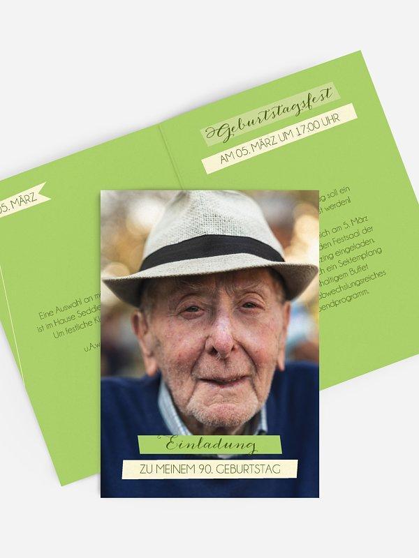 Einladung 90. Geburtstag Bildlich
