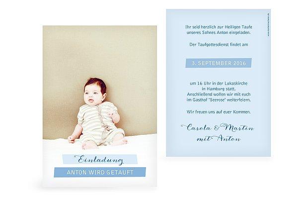 Einladungskarten zur Taufe: Taufeinladungen gestalten & drucken