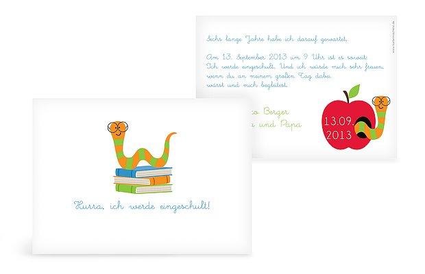 Einladung Einschulung Bücherwurm