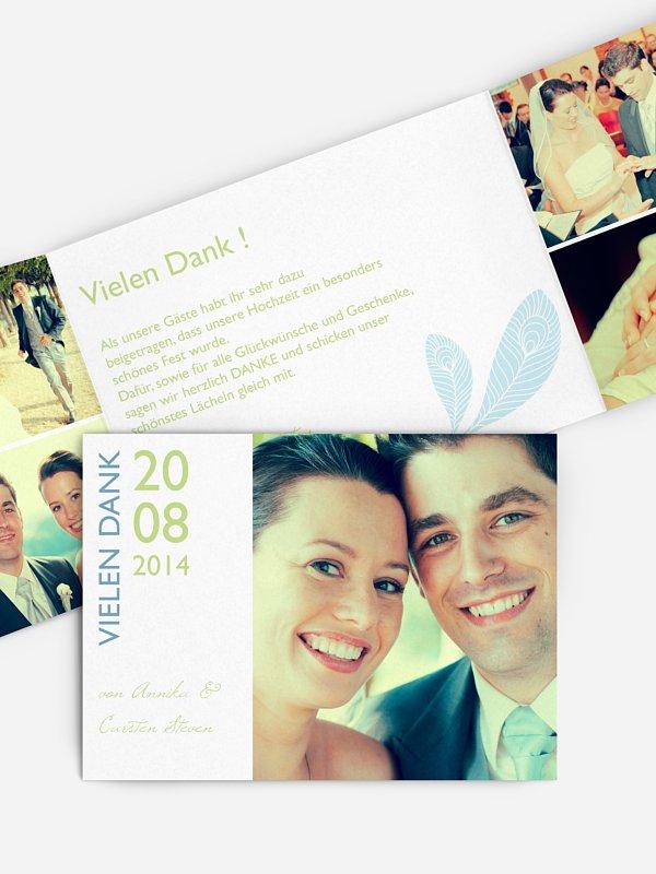 Dankeskarte Hochzeit Pfau