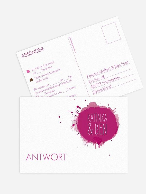 Antwortkarte Hochzeit Aquarell