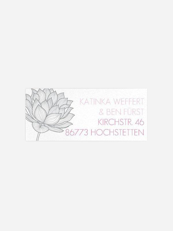 Absenderaufkleber Hochzeit Wasserlilie